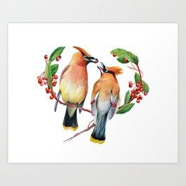 Cedar Waxwing Love Art Print