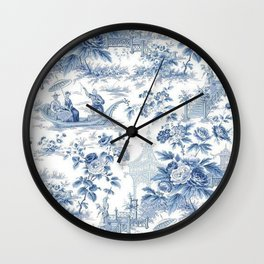 Powder Blue Chinoiserie Toile Wall Clock