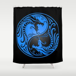 Blue and Black Yin Yang Dragons Shower Curtain