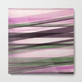 Semi Transparent Layers In Mint Pink and Morello Metal Print