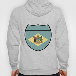 Delaware Flag In An Interstate Sign Hoody