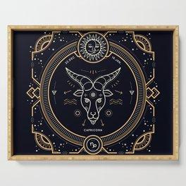 Capricorn Zodiac Gold White on Black Background Serving Tray