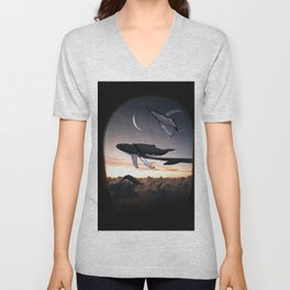Whales Flying Above The Clouds-Looking Out The Window Unisex V-Neck