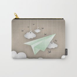 Green Paper Plane Carry-All Pouch