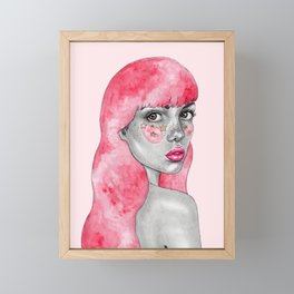 Pink haired stargirl Framed Mini Art Print