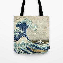 Brick Wall Painting Japanese Great Wave off Kanagawa - Urban Artist Tote Bag