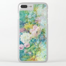 Abstract pastel spring floral Clear iPhone Case