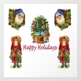 Happy Holidays Old-Fashioned Christmas Images Art Print