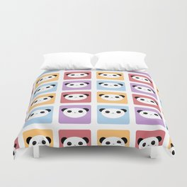 Kawaii Panda Pop Pattern Duvet Cover