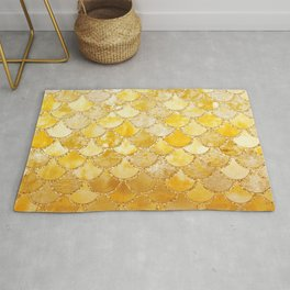 Sunny Gold Colorful Watercolor Trendy Glitter Mermaid Scales Rug