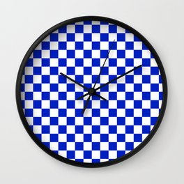 Cobalt Blue and White Checkerboard Pattern Wall Clock