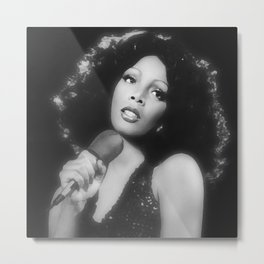Donna Summer in Black and White Metal Print