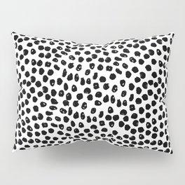Black and white minimal linocut pattern graphic scandi design Pillow Sham