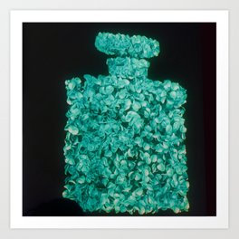 CC Rose Perfume Bottle Teal Art Print