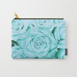 Turquoise roses - flower pattern - Vintage rose Carry-All Pouch