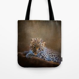 Cute painting amur leopard cub Tote Bag