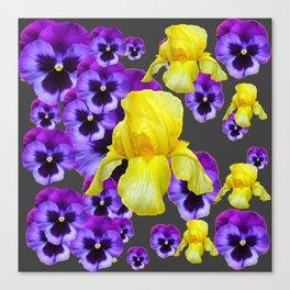 GREY  PATTERN YELLOW IRIS PURPLE PANSY Canvas Print