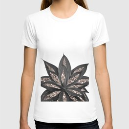 Gray Black Agave with Rose Gold Glitter #2 #shiny #tropical #decor #art #society6 T-shirt