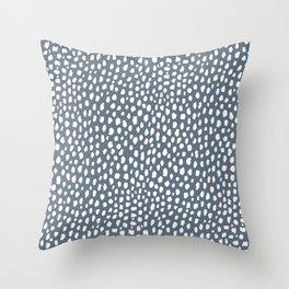 Handmade polka dot brush spots (white and slate gray/blue) Throw Pillow