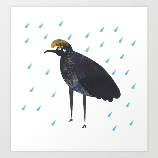 U is for Umbrella bird Art Print