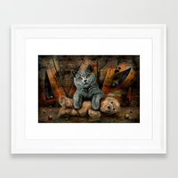 kpop Framed Art Prints featuring Cat Diesel with teddybear ! by teddynash