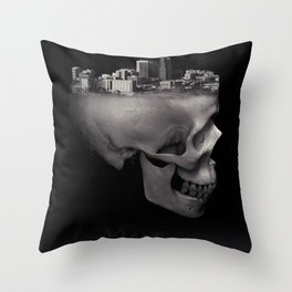 Urban Skull Horror Black and White City Throw Pillow