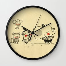 Forest Friends \ Cute Animals March\ elephant cats dogs  Wall Clock