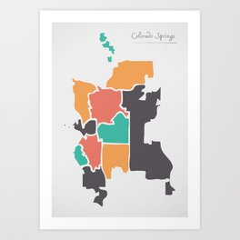Colorado Springs CO Map with neighborhoods and modern round shapes Art Print