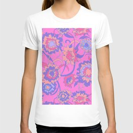Bold Tropical Floral in Neon Pink + Purple T-shirt