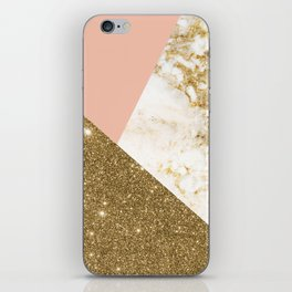 Gold marble collage iPhone Skin