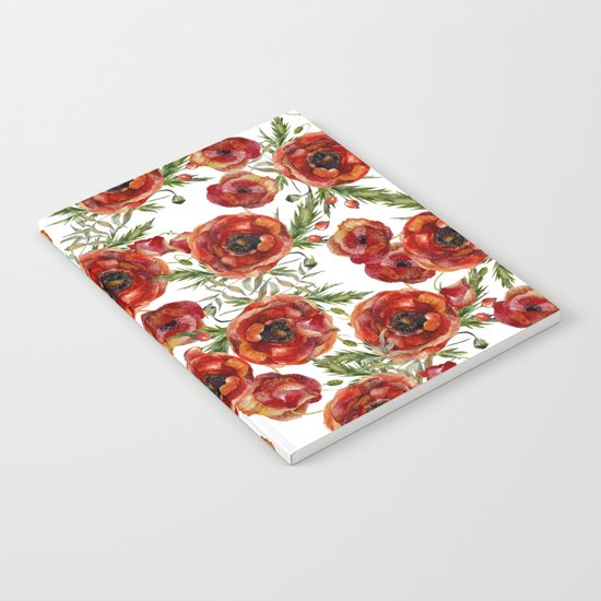 Poppy Pattern On White Background Notebook