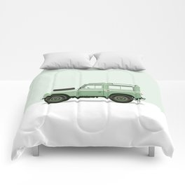 Car illustration - land rover defender Comforters