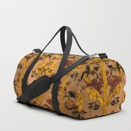 Golden Floral Tapestry Duffle Bag