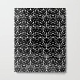 Icosahedron Pattern Black Metal Print