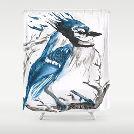 True Blue Jay Shower Curtain