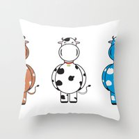 cows Throw Pillows featuring COWS by thestalewhale