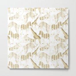 Stylish Gold Jungle Wild Animals Pattern Metal Print