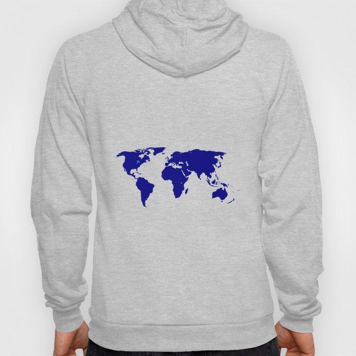 World Silhouette In Blue Hoody