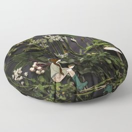 Bridie and the Robins in the Forest of Shamrocks Floor Pillow