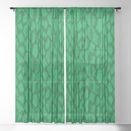 Overlapping Leaves - Dark Green Sheer Curtain