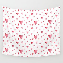 Watercolor print with hearts Wall Tapestry