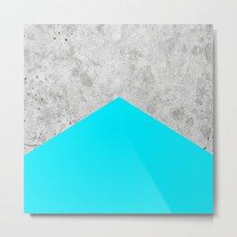 Geometric Concrete Arrow Design - Neon Blue #504 Metal Print