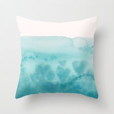 Waves of Love Aqua Throw Pillow