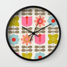 Retro Flowers Wall Clock