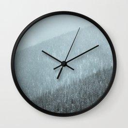 Snowy Mountain Hillsides Wall Clock