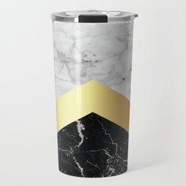 Arrows - White Marble, Gold & Black Granite #147 Travel Mug