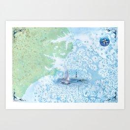 NC OBX Map Art Print