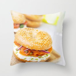 Bagel with salmon and cream cheese, brightly lit Throw Pillow