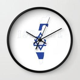 Israel Flag Map - Jew Jersualem Pride Gift Wall Clock