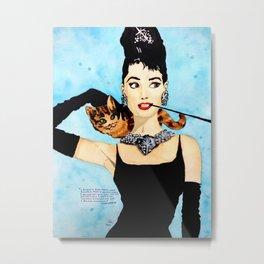 Blue Audrey Hepburn Watercolour Painting Metal Print
